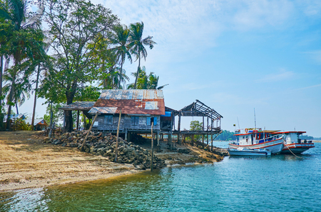 The small fishing village of Thazin is located by Pathein river tributary next to Ngwesaung resort, here locates the ferry , often used by tourists to cross the river and reach Chaung Tha resort, Myanmar.