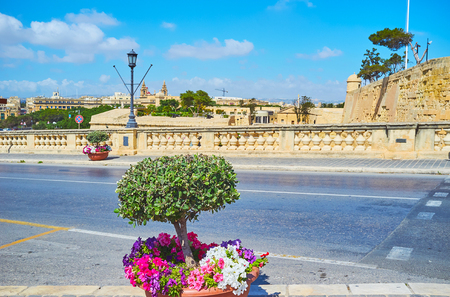 The Girolamo Cassar road, connecting Floriana and Valletta cities, is decorated with plants and flowers in pots, neighboring with old fashioned streetlights and massive handrails, Malta. Banque d'images - 106153439