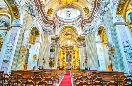 KRAKOW, POLAND - JUNE 11, 2018: The beautiful interior of St Anna church, richly decorated with carved pattern and painted elements, on June 11 in Krakow.2
