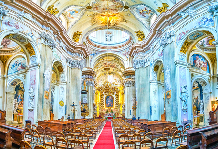 KRAKOW, POLAND - JUNE 11, 2018: Panoramic view on beautifully decorated prayer hall of St Anna Church, on June 11 in Krakow.2