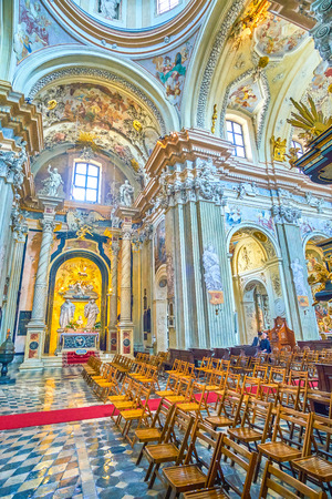KRAKOW, POLAND - JUNE 11, 2018: The St Anna Church is one of the most revered churches in Poland, with the most beautiful interior in baroque style, on June 11 in Krakow.2