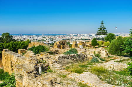 The Byrsa Hill, famous for ruins of ancient Carthage, boasts perfect viewpoints, overlooking the greenery, architecture and the coastline on background, Tunisia.