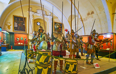 VALLETTA, MALTA - JUNE 17, 2018: The Palace Armoury of Grandmaster's Palace is preserved historical main crusaders arsenal of St John's Order with large collection of arms and armour, on June 17 in Valletta.