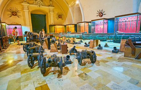 VALLETTA, MALTA - JUNE 17, 2018: The hall of Palace Armoury, housing in rear of Grandmaster's Palace and including excelent collection of medieval crusaders' arms and armour, on June 17 in Valletta. Editorial