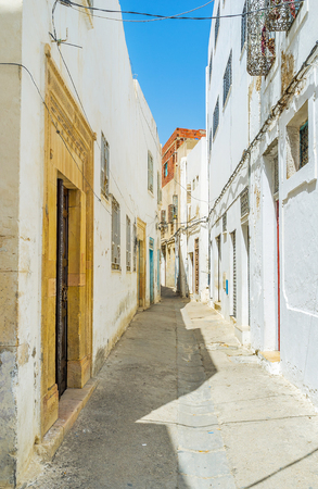 The old Medina of Sfax boasts preserved narrow streets, authentic residential edifices and workshops, Tunisia.