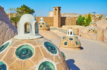 The medieval convex glass in brick domes of Qasemi (Sultan Amir Ahmad) Bathhouse in Kashan, Iran.