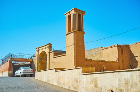 The badgir or windcatcher is traditional detail of Persian architecture, common in old town of Kashan, Iran. Stock Photo