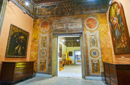 BIRGU, MALTA - JUNE 17, 2018: The splendid interior of halls in Inquisitor's (Sacred) Palace,  on June 17 in Birgu.