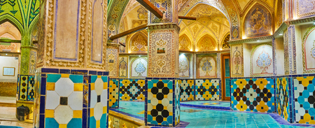KASHAN, IRAN - OCTOBER 22, 2017: Hammam-e Sultan Amir Ahmad (Qasemi Bathhouse) nowadays serves as the museum and shows the beauty of Persian architecture, on October 22 in Kashan.