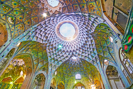 KASHAN, IRAN - OCTOBER 22, 2017: The splendid interior of medieval Timche-ye Amin od-Dowleh (Aminoddole Caravanserai) great hall of the historical Grand Bazaar, on October 22 in Kashan.