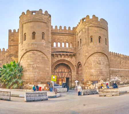 CAIRO, EGYPT - DECEMBER 23, 2017: The impressive Bab Al-Fatuh were the northern gates  of medieval city, on December 23 in Cairo Editorial