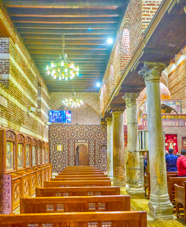 The side aisle of St Barbara Church in Cairo, Egypt Editorial