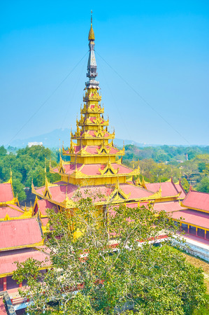 The high tower with pyatthat roof, called the Golden Spire, Royal Palace in Mandalay, Myanmar