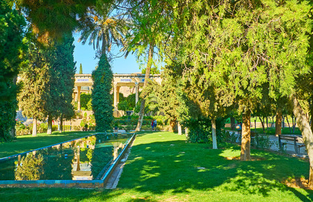 The clear surface of the fountain reflects the green thujas of Mussala Gardens, Shiraz, Iran. 스톡 콘텐츠