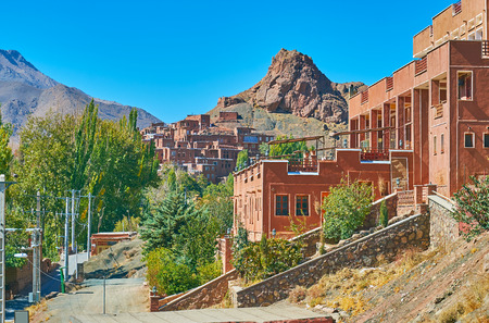 The picturesque Abyaneh village occupies the slpe of the rock of Karkas mountain range, Iran. Banco de Imagens