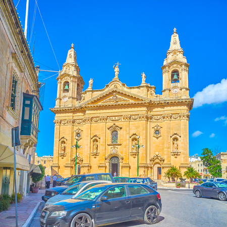 NAXXAR, MALTA - JUNE 14, 2018: The Parish Church is the main landmark of the town and the most impressive building in baroque style, on June 14 in Naxxar.
