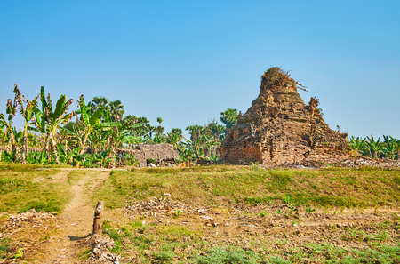Ava boasts numerous preserved ancient landmarks, there are also many ruined temples and shrines on its territory, Myanmar.