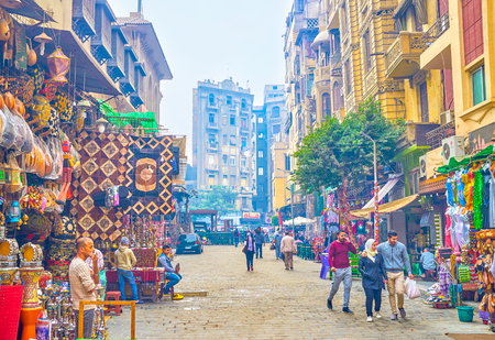 CAIRO, EGYPT - DECEMBER 20, 2017: Khan El-Khalili Souq stretched for a whole quarter and occupies a significant part of the historic city, where you can walk for hours, on December 20 in Cairo. Editorial