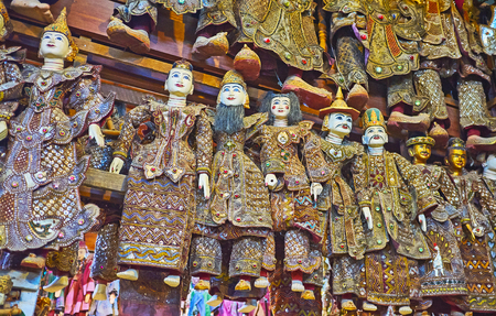 The authentic workshop in Shwe-gui-do quarter boasts wide range of traditional string puppets of Nats (Burmese Spirits deities), Mandalay, Myanmar.
