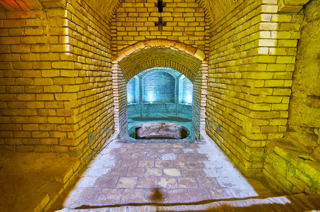 YAZD, IRAN - OCTOBER 18, 2017: Interior of historic qanat (underground well), located on territory of Jameh Mosque, on October 18 in Yazd.