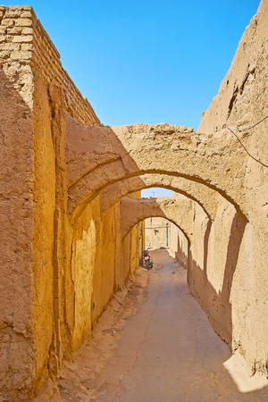 The kuche passageways are notable landmark of the medieval town of Yazd, Iran.