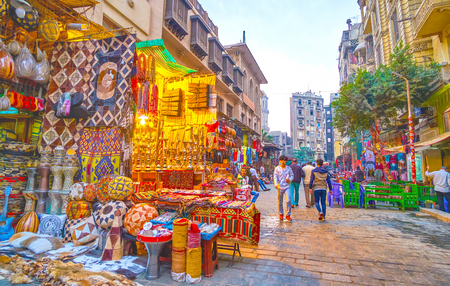 CAIRO, EGYPT - DECEMBER 20, 2017: Khan EL-Khalili market occupies a huge territory in old Cairo and neighbors with numerous cafes and restaurants, on December 20 in Cairo.