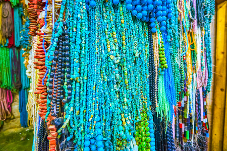 The turquoise beads are especially beautiful, if collected from small stones, Cairo market, Egypt