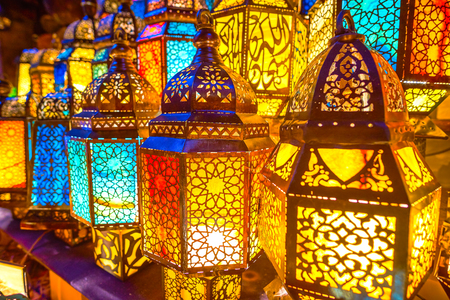 Amazingly beautiful light of Arabian lamps is the thing, that will be remembered for a lifetime, Cairo, Egypt Stock fotó