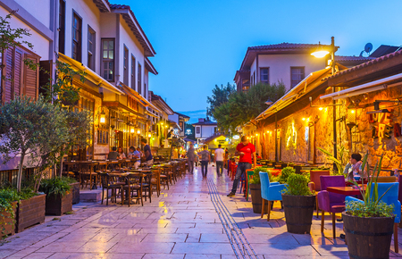 ANTALYA, TURKEY - MAY 9, 2017: The old town boasts different restaurants and cafes, occupying historical townhouses and offering nice time spending on cozy summer terraces, on May 9 in Antalya. Sajtókép
