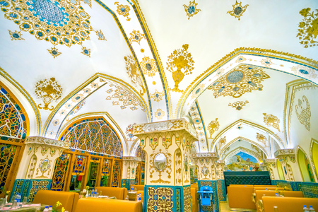 ISFAHAN, IRAN - OCTOBER 19, 2017: Baastan is one of the most beloved among tourists restaurant due to its good location and tasty Persian cuisine, on October 19 in Isfahan