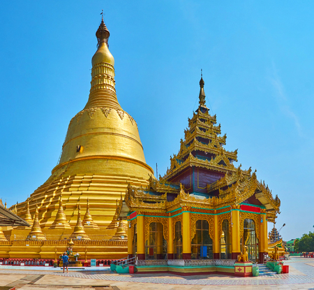 Magnificent Shwemawdaw Pagoda is also named the Temple of Golden God, Bago, Myanmar.