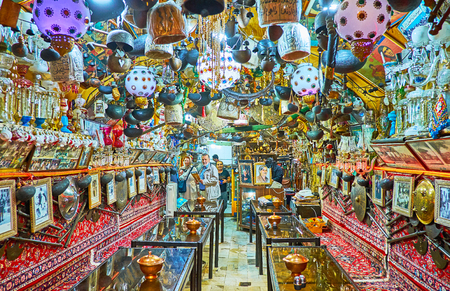ISFAHAN, IRAN - OCTOBER 21, 2017: Azadegan Tea House is famous tourist location in Grand Bazaar with unique interior, tasty dishes and nice atmosphere, on October 21 in Isfahan.