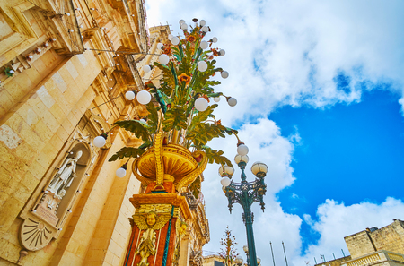 The scenic festival lanterns decorate the city center of Rabat during celebration of St Peter and Paul Feast, Malta.