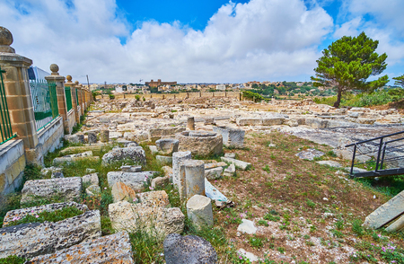 The archaeological site, located behind the Domus Romana (Roman Villa), between Rabat and Mdina, Malta. Stok Fotoğraf