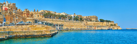 Panorama of medieval city of Valletta with preserved fortifications from the Grand Harbour, Malta. Banco de Imagens