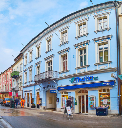 BAD ISCHL, AUSTRIA - FEBRUARY 20, 2019: The facade of the Rathaus (City Hall), sandwiched beween the edifices of Pfarrgasse street, on February 20 in Bad Ischl