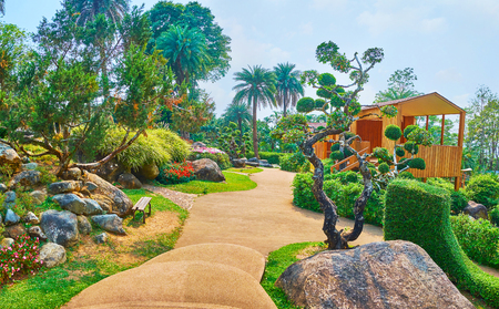 Mae Fah Luang garden is nice place for the pleasant walk among the topiary plants, Alpine lawns, evergreen and perennial species, Doi Tung, Thailand