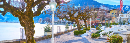 ZELL AM SEE, AUSTRIA - FEBRUARY 28, 2019: The line of old trees and topiary bushes in garden, located at the bank of frozen Zeller see lake, on February 28 in Zell am See