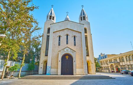 The modest facade of Armenian Cathedral of St Sarkis, located in Karimkhan Zand street in Tehran, Iran