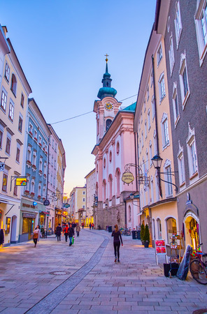 SALZBURG, AUSTRIA - FEBRUARY 27, 2019: Linzergasse is one of the most beloved places for shopping in old town, due to large amount of shops, boutiques and traditional cafes, on February 27 in Salzburg 에디토리얼