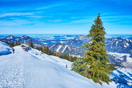Enjoy the skiing, boarding or snowshoeing, exploring the routes of Zwolferhorn mountain, famous for amazing landscapes and viewpoints, St Gilden, Salzkammergut, Austria