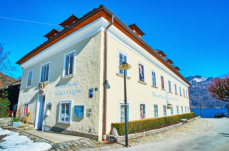 ST GILGEN, AUSTRIA - FEBRUARY 23, 2019: The Mozarthaus memorial building is the place of birth of Mozarts mother, located on the bank of Wolfgangsee lake, on February 23 in St Gilgen Redakční
