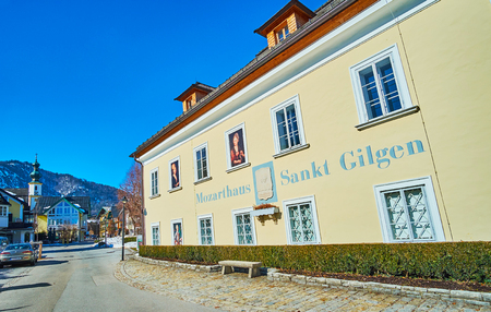 ST GILGEN, AUSTRIA - FEBRUARY 23, 2019: Historical Mozarthaus is one of the main landmarks of St Gilgen, here was born Mozarts mother, knowadays this memorial functions as museum, on February 23 in St Gilgen Redakční
