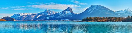 Panorama of the mountains of Postalm region with Labenberg and Pitschnenberg peaks from the bank of Wolfgangsee lake, St Wolfgang, Salzkammergut, Austria