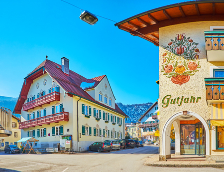 ST GILGEN, AUSTRIA - FEBRUARY 23, 2019: Take a walk in old town, explore its narrow streets, small squares, extant mansions and villas with ornate decorations, on February 23 in St Gilgen Redakční
