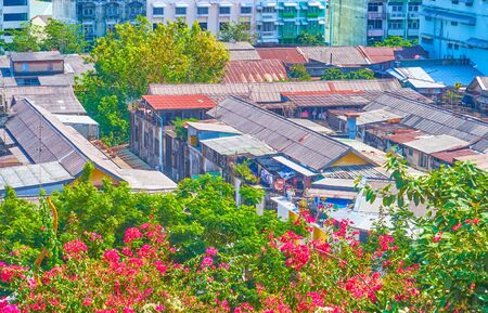 The slums residential neighborhood with shabby houses adjoins to the lush greenery of   Wat Saket temple's garden, Bangkok, Thailand
