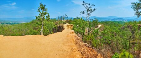 Observe the panorama of Pai Canyon (Kong Lan) and lush green forest, rising from the deep gorge between cliffs, Thailand