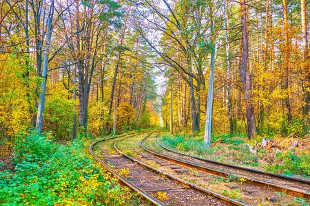 The tramline stretches along the autumn forest of Pushcha-Voditsa climate resort, famous among the locals as nice place for rest and enjoy the nature, Kiev, Ukraine.