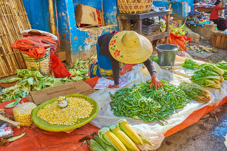 TAUNGGYI, MYANMAR - FEBRUARY 20, 2019: The farmer sells green peas in pods, Chinese cabbage and corn, sitting on the floor in agricultural market, on February 20 in Taunggyi