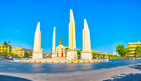 BANGKOK, THAILAND - APRIL 24, 2019: The Democracy Monument is one of the most notable landmarks of modern times, located on large Ratchadamnoen Avenue in central Bangkok, on April 24 in Bangkok